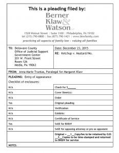 BK pleading cover sheet DELCO sample